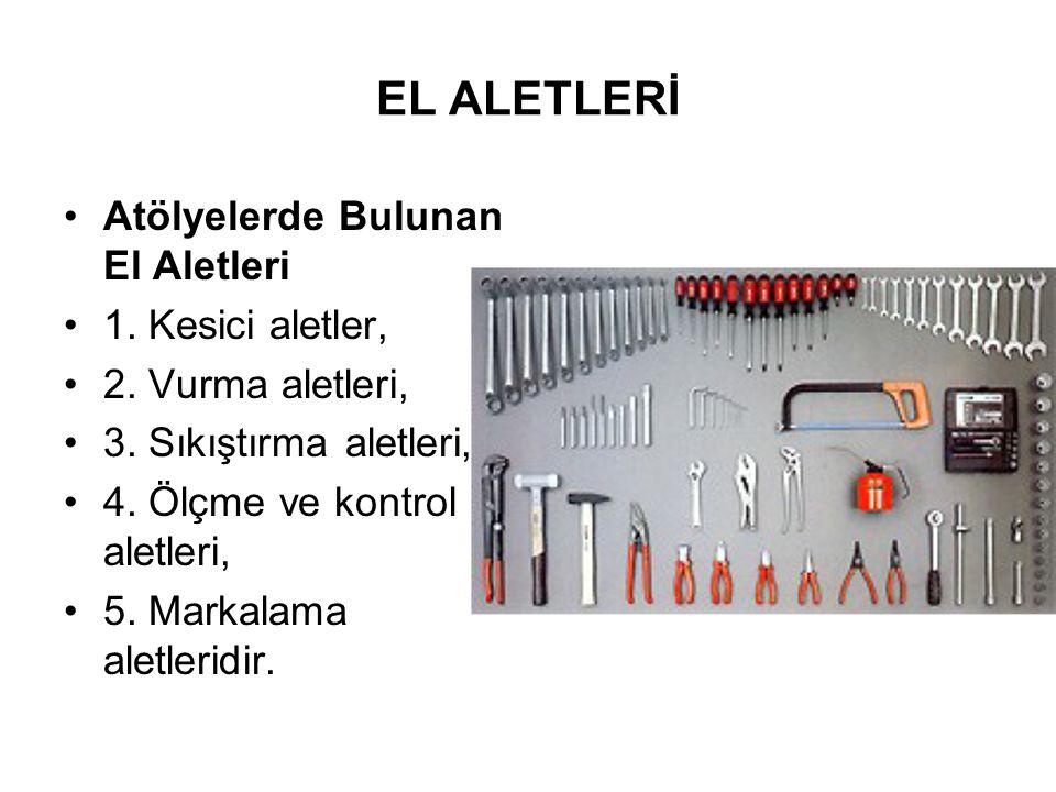 EL ALETLERİ Sınıflandırması yapılan bu aletlerin kullanma şekillerini bilmek ve buna göre uygulama yapmak gerekir.