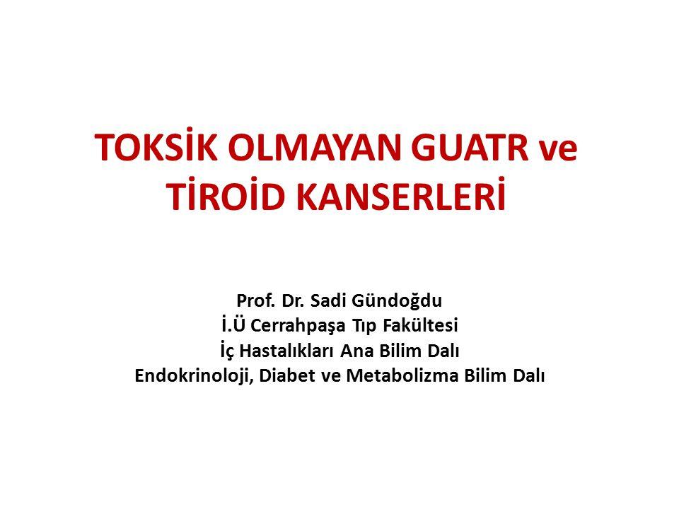 GUATR Tiroid glandının anormal büyümesi Büyüme : Difüz/Nodüler Tiroid hormon sekresyonu : ↓/N/↑ Guatr dünyada en sık nedeni: İyot eksikliği