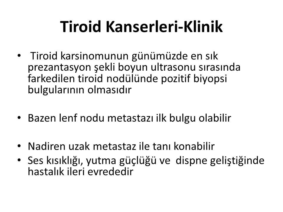Tiroid Kanserleri-Fizik Muayene Fizik muayenede malign nodül özellikleri Tek Sert Yutma sırasında hareketli, çevre dokuya/parankime yapışık Benign nodüllerden sadece muayene ile ayırt edilmesi zordur
