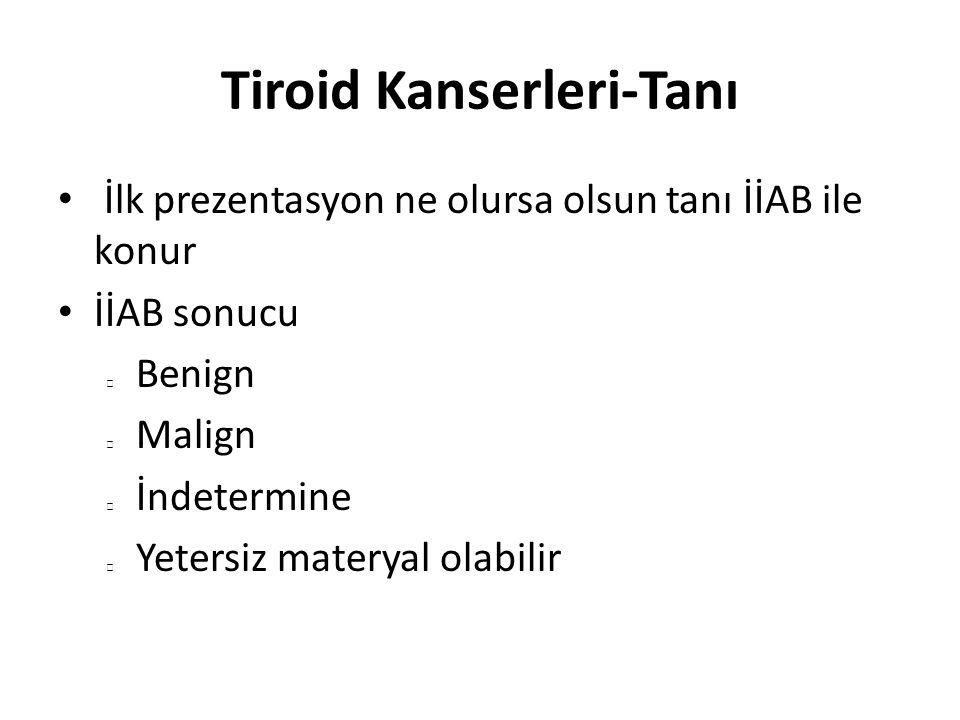 Tiroid Kanserleri-Tanı TSH nın baskılı olması sıcak/hiperaktif nodül varlığına işaret eder Sintigrafide radyoaktif madde tutulumu (+) Bu tür nodüller genellikle iyi huyludur