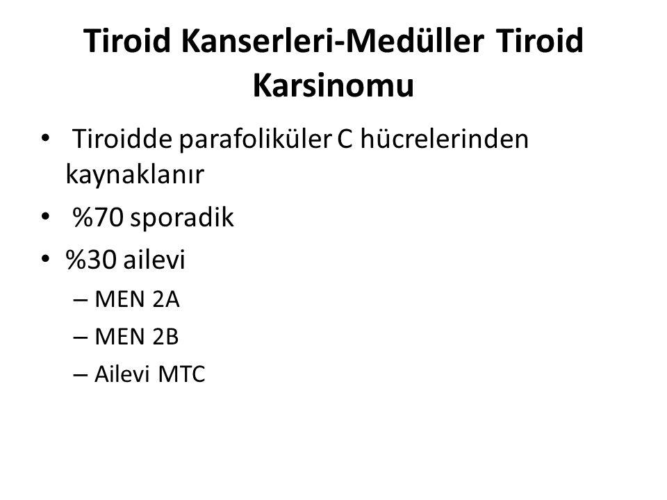 Tiroid Kanserleri-Medüller Tiroid Karsinomu Kalsitonin ve CEA sekrete ederler – Tanı ve takipte önemli Prognoz papiller tiroid karsinomlarında olduğu kadar iyi değildir Tedavi geniş lenf nodu rezeksiyonunu ile birlikte tiroidektomidir, ancak genellikle cerrahi ile kontrol sağlanamaz