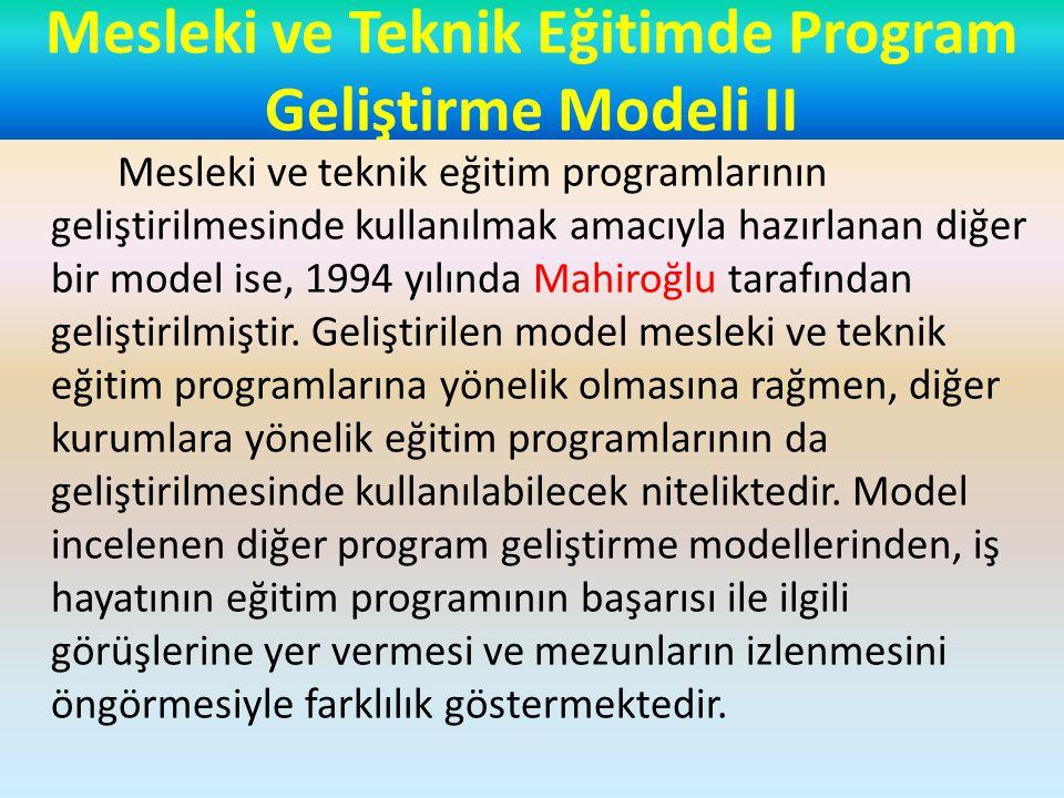 Mesleki ve Teknik Eğitimde Program Geliştirme Modeli II Model Mahiroğlu tarafından şöyle açıklanmaktadır; Mesleki ve teknik eğitimde program geliştirmeden amaç, endüstrinin ihtiyacını nicelik ve nitelik yönleriyle belirleyerek bu ihtiyaca cevap verebilecek bir eğitim programının amaçlarını belirleme, bu amaçlara ulaşabilmek için eğitim durumunu belirleme, eğitim durumunda belirlenen şartlarda eğitimi yapma ve amaçta belirlenen davranışlara ne ölçüde ulaşıldığını veya ulaşılmadığını belirlemedir.