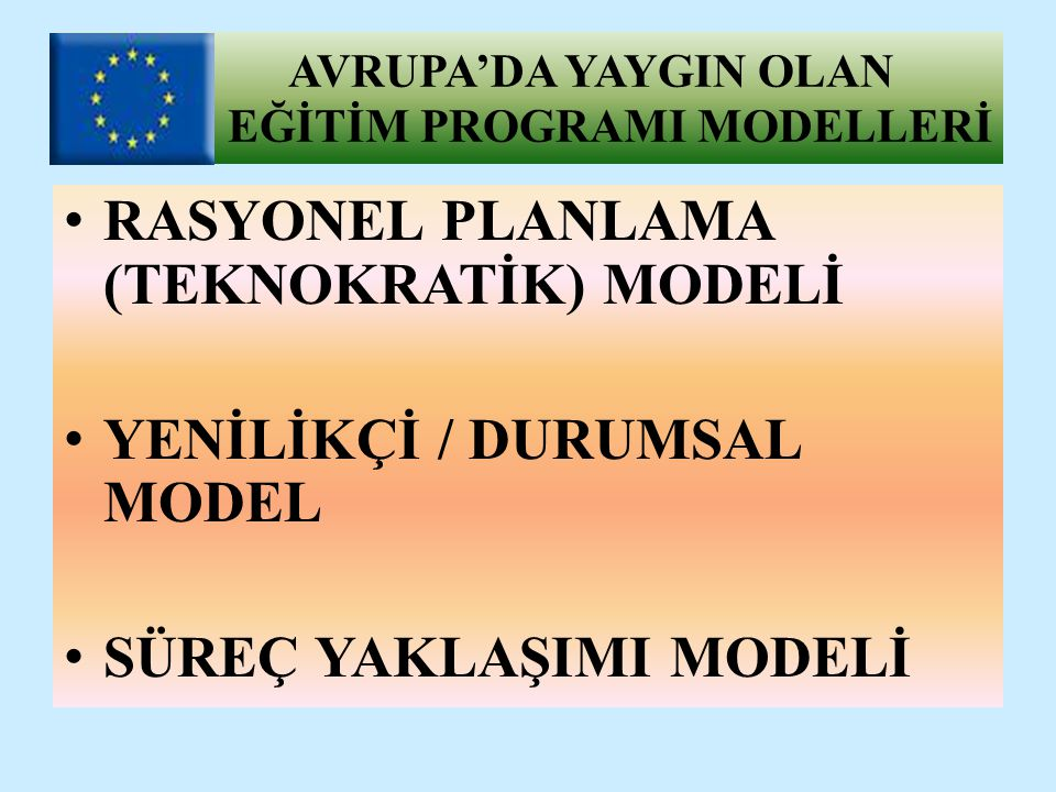 RASYONEL PLANLAMA (TEKNOKRATİK) MODELİ Taba-Tyler modeline karşılık gelmektedir.