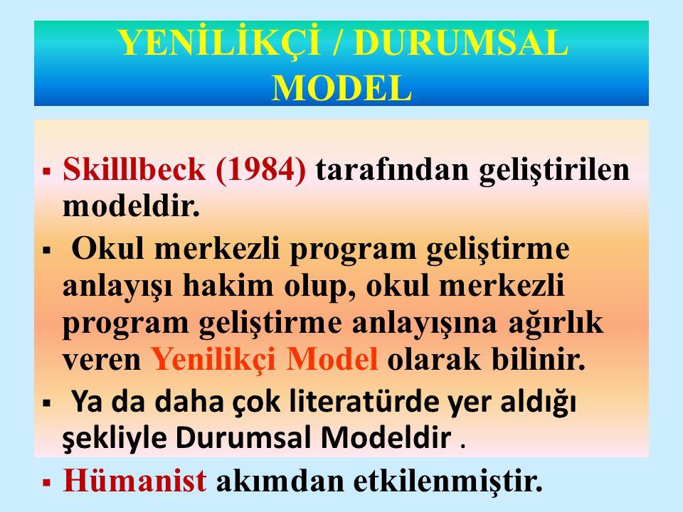 DURUMSAL ( YENİLİKÇİ ) MODEL (SKİLBECK) Durum Çözümlemesi Amaçlar Öğrenme-öğretme Programı Desenleme Uygulama Değerlendirme