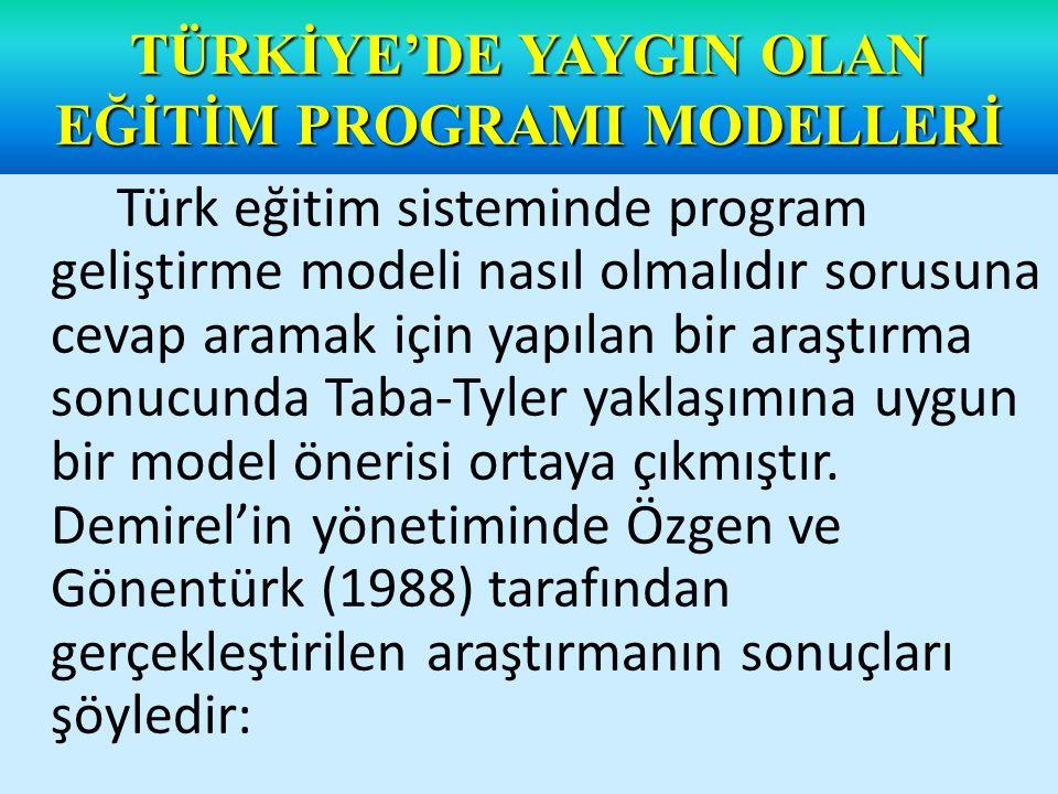 Eğitimde bir program modeli üzerinde Türkiye'de bulunan program geliştirme uzmanlarının görüşlerini belirlemek amacıyla yapılan bu araştırma sonucunda uzmanların tamamına yakını, bir programın temel öğelerinin amaçlar (hedefler), muhteva (içerik), öğretme-öğrenme süreçleri (eğitim durumları) ve değerlendirme olduğu görüşünde birleştiklerini belirtmişlerdir.