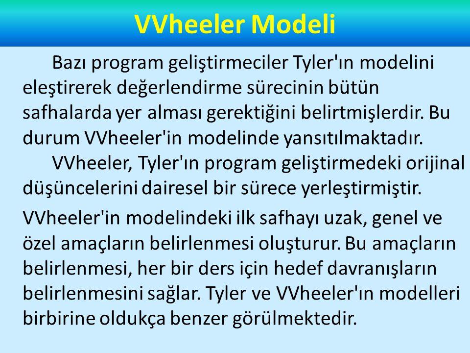 Tarıner ve Tanner Modeli Program geliştirme modellerinde zaman içerisinde farklılıklar olmasına rağmen bütün modellerin Tyler ın modeli etrafında şekillendiği görülmektedir.