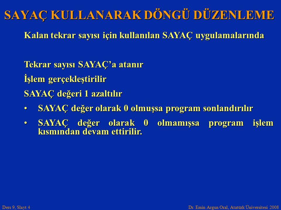 Dr.Emin Argun Oral, Atatürk Üniversitesi 2008 Ders 9, Slayt 5 A portunun 0.