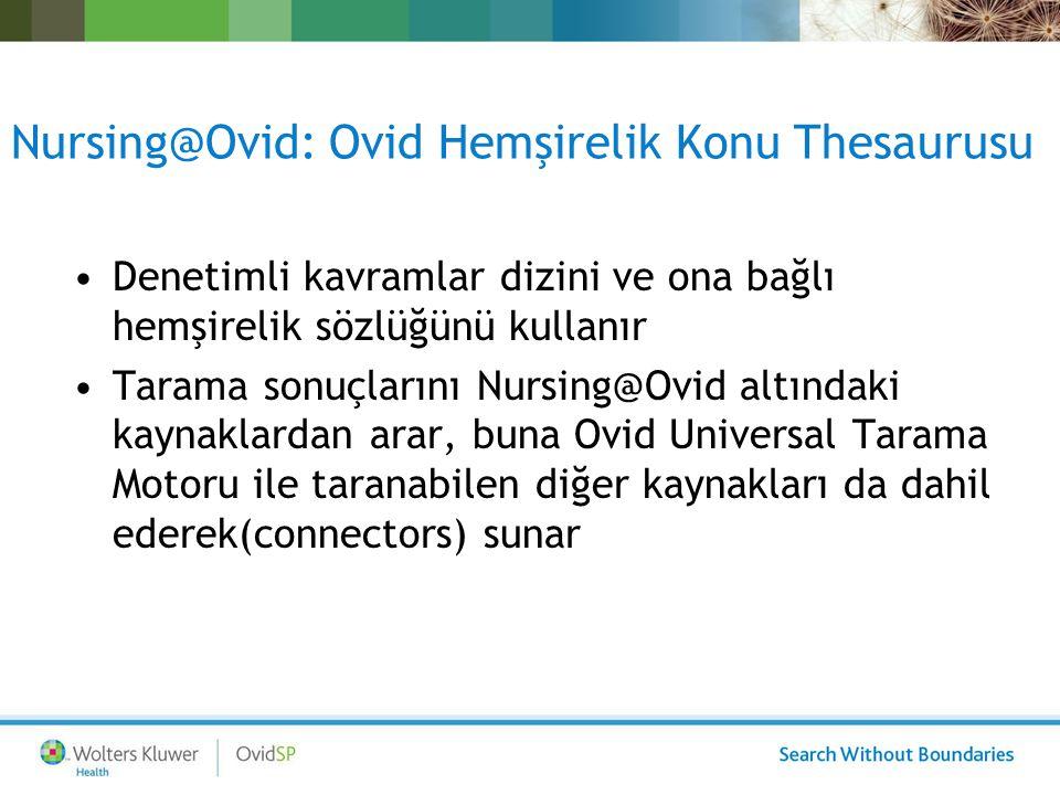 Nursing@Ovid: Temel Tam Metin Kaynaklar LWW Temel Dergiler –16 dergi LWW Temel Kitaplar –23 kitap