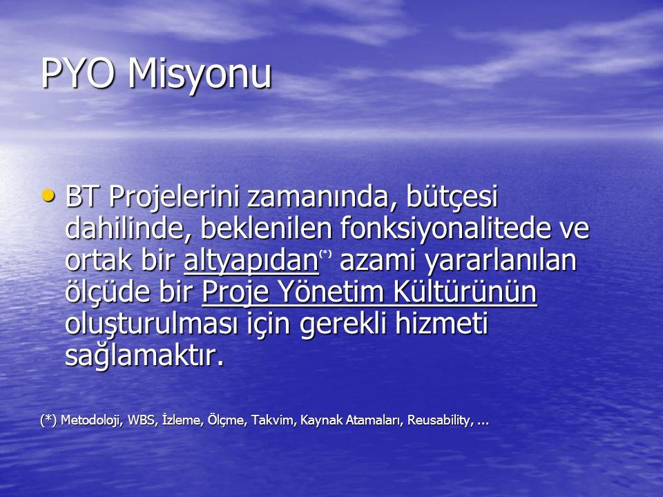 PYO Kapsamı Kapsam Kurumsal Çözümler ve Yazılım Direktörlüğü Projeleri ile sınırlıdır.
