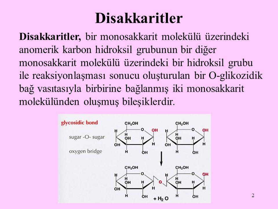 3 O-glikozidik bağ, bir yarı asetal ve bir alkolden bir asetal oluşumunu gösterir.