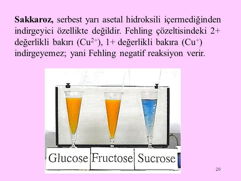 21 Sukrozun hidrolizi sonucunda çoğu kez eşit miktarlarda glukoz ve fruktoz karışımı oluşur.