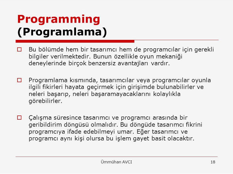 Ümmühan AVCI19 Programming  Ancak, tasarımcı ve programcının projedeki oyun mekaniğinin nasıl olması gerektiği ile ilgili farklı düşünceleri varsa problemler ortaya çıkacaktır.