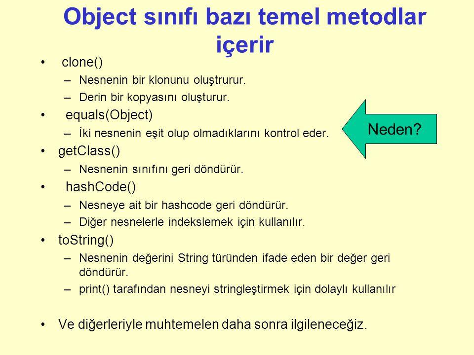 Object sınıfı bazı temel metodlar içerir clone() –Nesnenin bir klonunu oluştrurur.