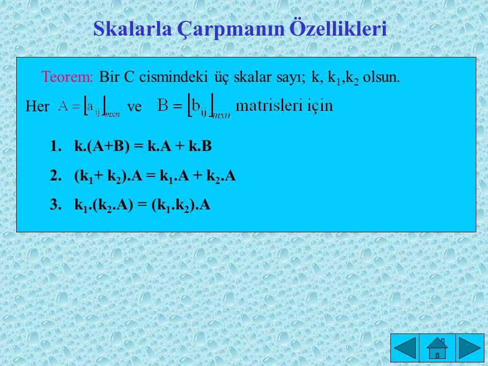 Skalarla Çarpmanın Özellikleri Teorem: Bir C cismindeki üç skalar sayı; k, k 1,k 2 olsun.
