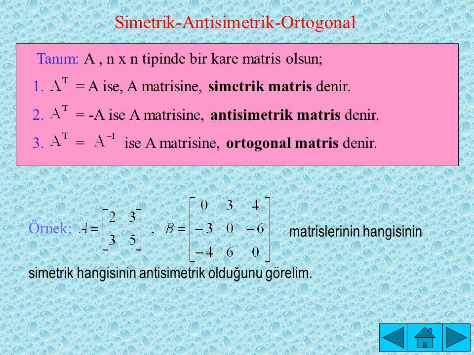 Simetrik-Antisimetrik-Ortogonal 1.= A ise, A matrisine, simetrik matris denir.