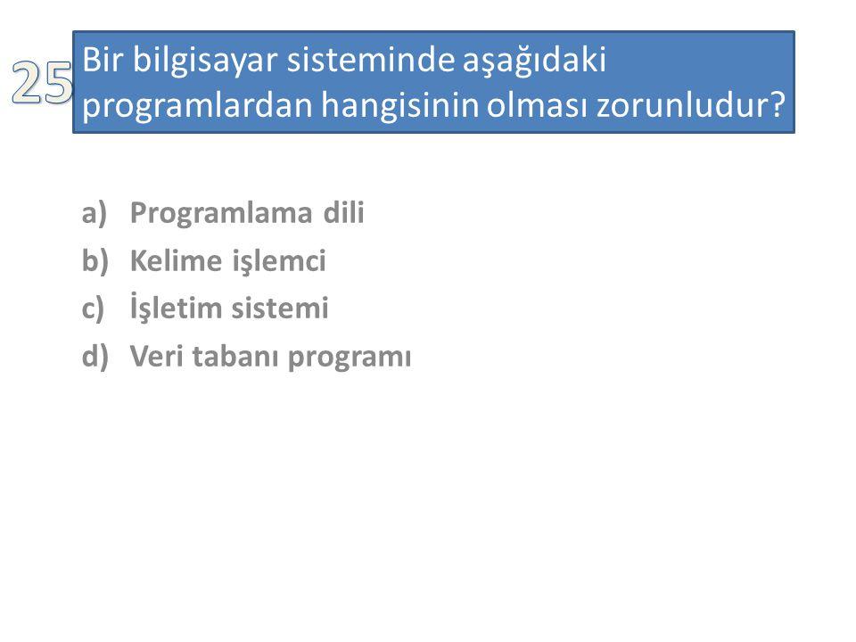 Bir bilgisayar sisteminde aşağıdaki programlardan hangisinin olması zorunludur.