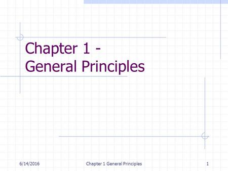 6/14/2016Chapter 1 General Principles1 Chapter 1 - General Principles.