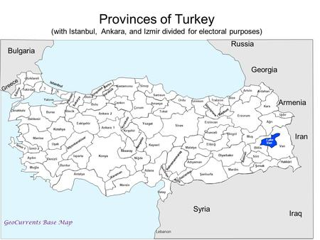 (with Istanbul, Ankara, and Izmir divided for electoral purposes)