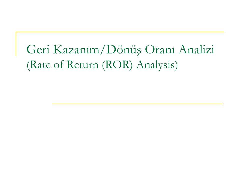 Contemporary Engineering Economics, 4 th edition © 2007 i* = Rate of return ( Geri Kazanım Oranı) = Yield (Getiri/Hasılat) = Internal rate of return (İç Getiri Oranı) = Marginal efficiency of capital (Marjinal Sermaye Verimi) Geri Kazanım/Dönüş Oranı (Rate of Return, ROR)