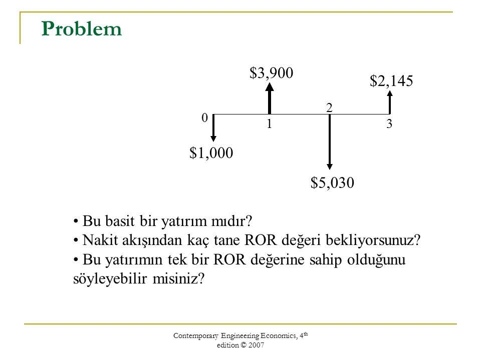 Contemporary Engineering Economics, 4 th edition © 2007 Hesaplamalı Metotlar (Computational Methods) Excel'in finansal fonksiyonlarını kullanmak Direk çözüm metodu Deneme-Yanılma metodu (sadece basit yatırımlar için çalışır) Excel'in geri kazanım oranını bulma fonksiyonu: =IRR(cell range, guess) = İÇ_VERİM_ORANI(değerler, tahmin) örnek; =IRR(C0:C7, 10%)