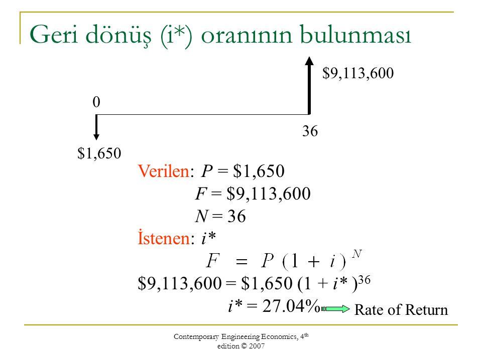 Contemporary Engineering Economics, 4 th edition © 2007 Aynı miktarı ($1,650) %6 faiz veren banka hesabına yatırsaydınız: Eylül 2006'da $13,443 olurdu.