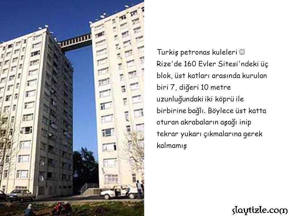 Turkiş petronas kuleleri Rize de 160 Evler Sitesi ndeki üç blok, üst katları arasında kurulan biri 7, diğeri 10 metre uzunluğundaki iki köprü ile birbirine bağlı.