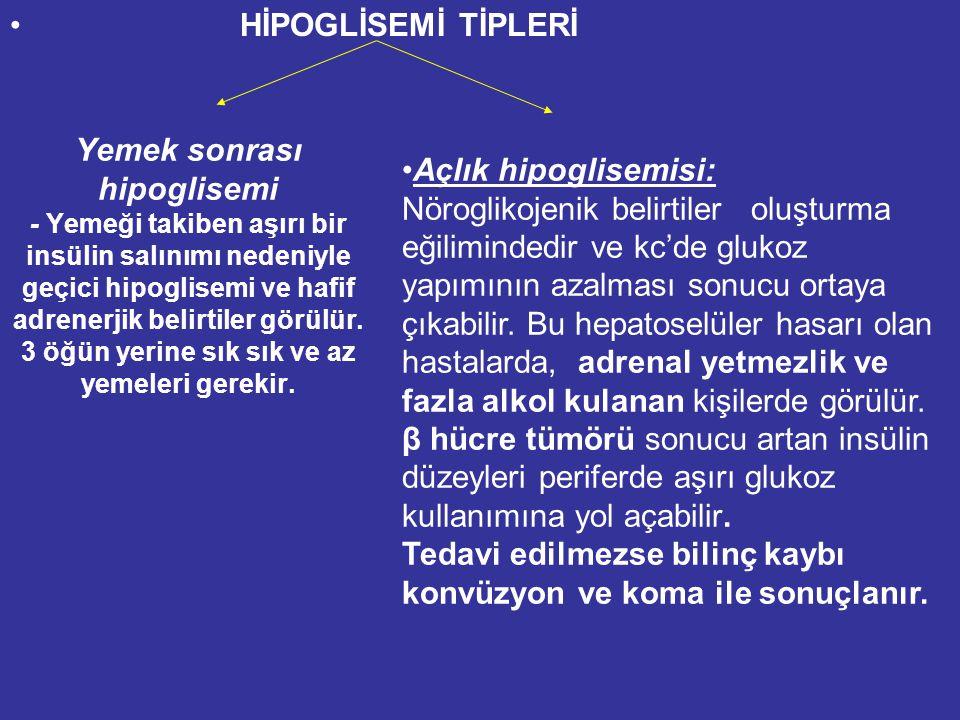 HİPOGLİSEMİ TİPLERİ Yemek sonrası hipoglisemi - Yemeği takiben aşırı bir insülin salınımı nedeniyle geçici hipoglisemi ve hafif adrenerjik belirtiler görülür.