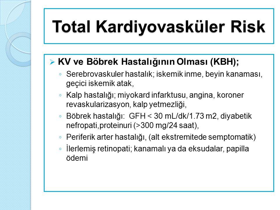 Tanı  Tanı aşamasında: ◦ KB düzeylerini saptamak ◦ Hipertansiyona neden olan sekonder nedenleri araştırmak ◦ Kapsamlı şekilde KV risk faktörleri, diğer risk faktörleri, hedef organ hasarı, eşlik eden hastalıklar ve klinik koşulları belirlemek gerekmektedir.