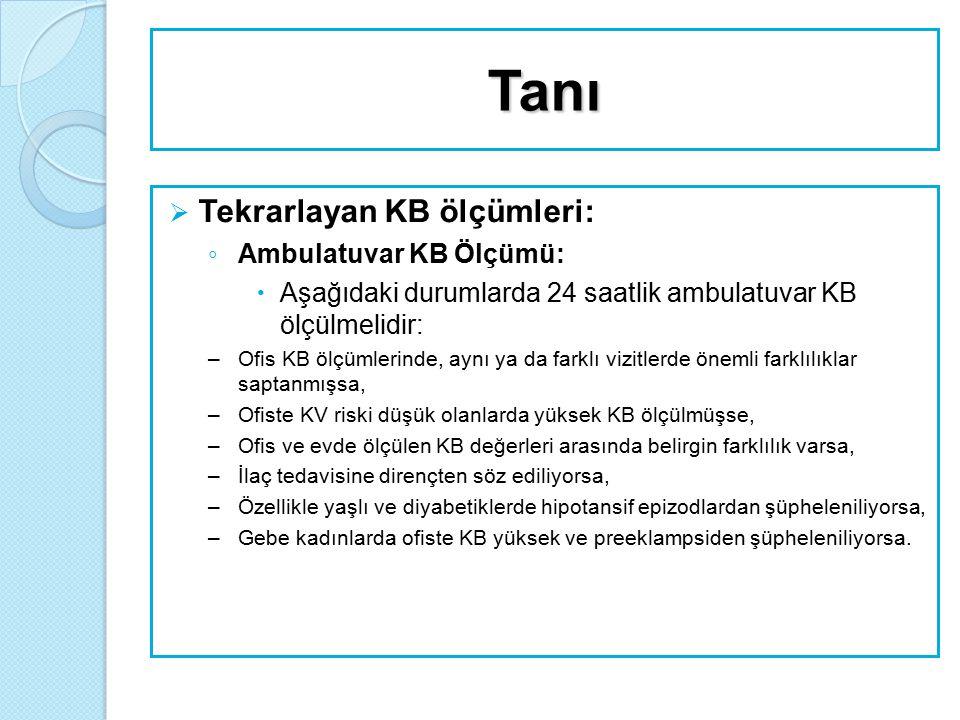 Tanı  Tekrarlayan KB ölçümleri: ◦ Evde KB Ölçümü:  Ofis KB ölçümünden daha değerlidir ama ambulatuvar kan basıncı ölçümünden değersizdir.