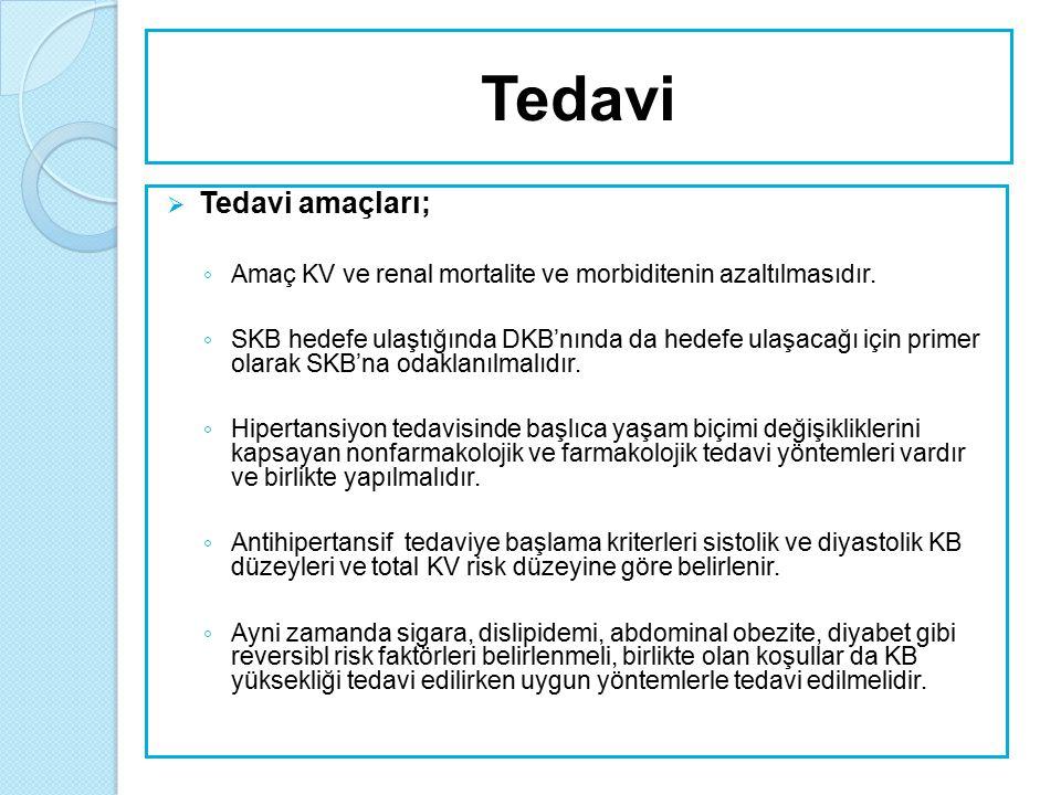  Tedavi hedefleri; ◦ Hipertansif hastalarda tedavinin temel hedefi uzun dönemde KV hastalık riskini maksimum düzeyde azaltmaktır.