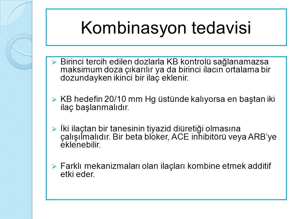 ESH-ESC'ye göre önerilen kombinasyonlar  Tiyazide diüretik ve ACE inhibitör  Tiyazid diüretik ve angiotensin reseptör antagonist  Kalsiyum antagonist ve ACE inhibitör  Kalsiyum antagonist ve angiotensin reseptör antagonist  Kalsiyum antagonist ve tiyazid diüretik Yeşil devamlı çizgi: tercih edilen, Yeşil kesik çizgi: yararlı (belirli sınırlamalarla) Siyah kesik çizgi: olası ancak yeterince test edilmeyen, Kırmızı çizgi: önerilmeyen