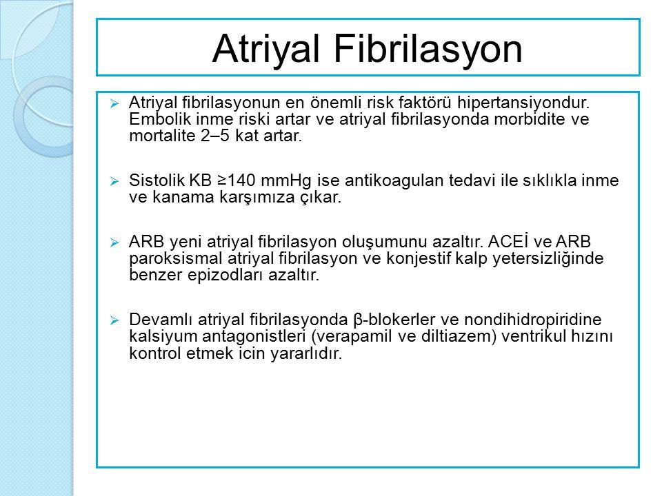 Kadınlarda Hipertansiyon  Gebelerde ve gebe kalmayı duşunen kadınlarda potansiyel teratojenik etki nedeniyle ACEİ ve ARB'den kaçınılmalıdır.