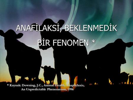 ANAFİLAKSİ, BEKLENMEDİK BİR FENOMEN * * Kaynak: Downing, J.C., Animal Health, Anaphylaxis, An Unpredictable Phenomenon, 1996 An Unpredictable Phenomenon,