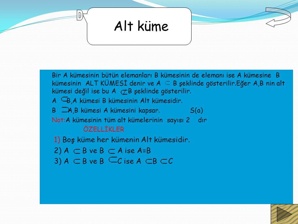 Bir A kümesinin bütün elemanları B kümesinin de elemanı ise A kümesine B kümesinin ALT KÜMESİ denir ve A B şeklinde gösterilir.Eğer A,B nin alt kümesi değil ise bu A B şeklinde gösterilir.