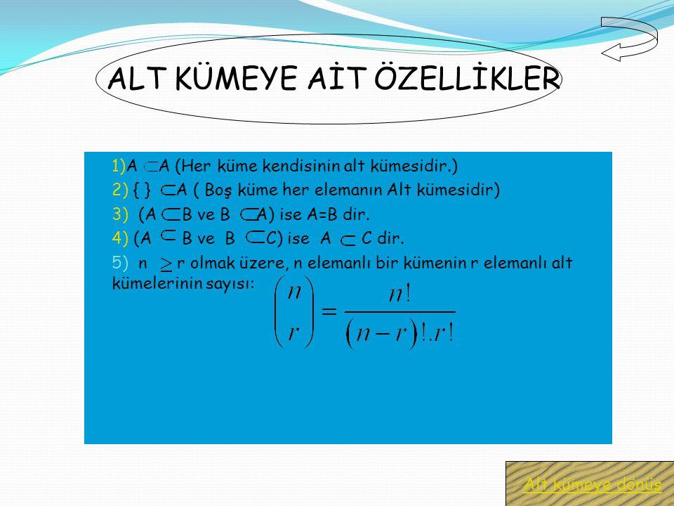 1)A A (Her küme kendisinin alt kümesidir.) 2) { } A ( Boş küme her elemanın Alt kümesidir) 3) (A B ve B A) ise A=B dir.