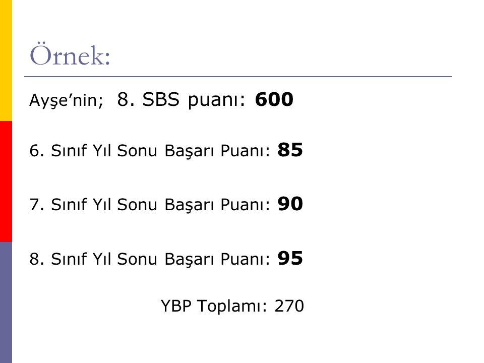 Örnek: (Devam)  Ayşe'nin; Ortaöğretim Yerleştirme Puanı(OYP): OYP= (SBS + YBP t) 2 = (600 + 270) 2 = 435