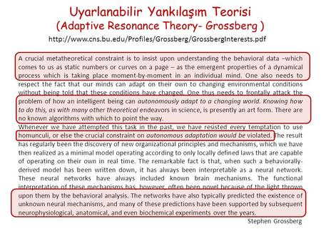 Uyarlanabilir Yankılaşım Teorisi (Adaptive Resonance Theory- Grossberg )  A crucial metatheoretical.