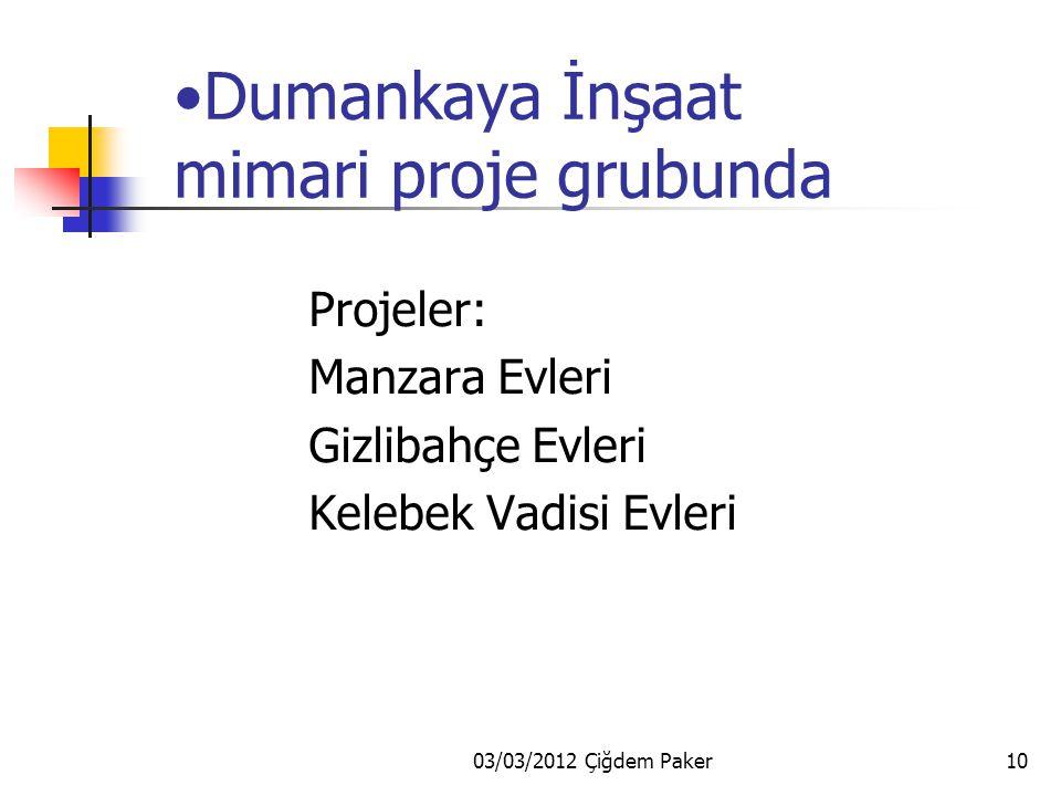 03/03/2012 Çiğdem Paker10 Dumankaya İnşaat mimari proje grubunda Projeler: Manzara Evleri Gizlibahçe Evleri Kelebek Vadisi Evleri