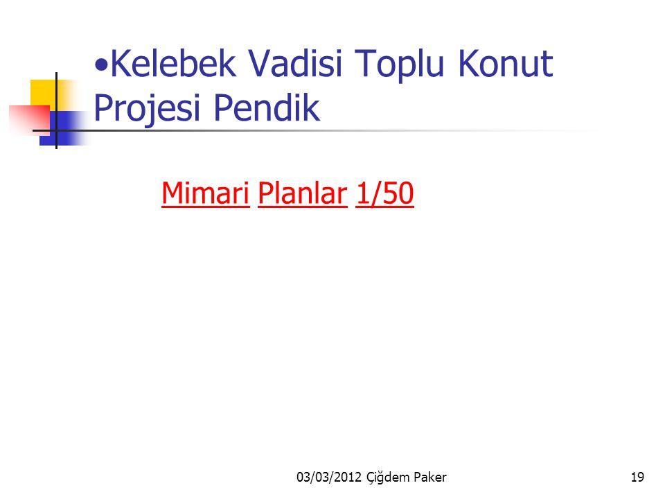 03/03/2012 Çiğdem Paker19 Kelebek Vadisi Toplu Konut Projesi Pendik MimariMimari Planlar 1/50Planlar1/50