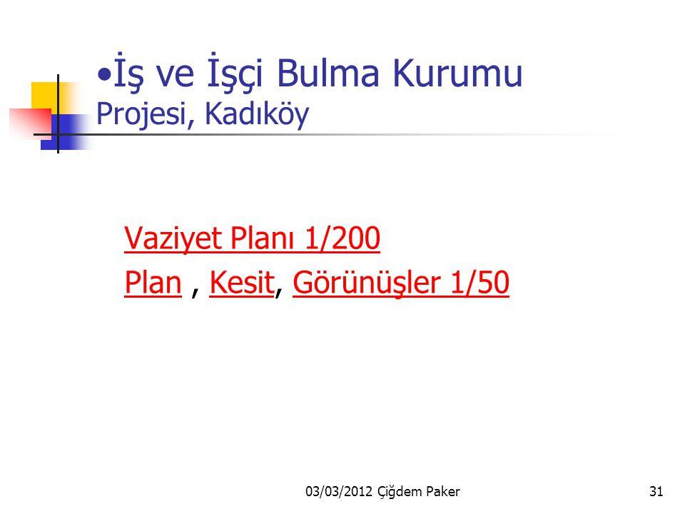03/03/2012 Çiğdem Paker31 İş ve İşçi Bulma Kurumu Projesi, Kadıköy Vaziyet Planı 1/200 Plan, Kesit, Görünüşler 1/50PlanKesitGörünüşler 1/50