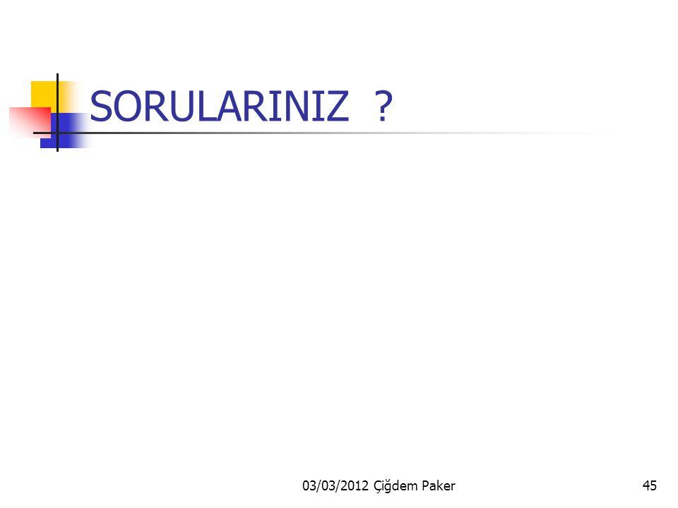 03/03/2012 Çiğdem Paker45 SORULARINIZ ?