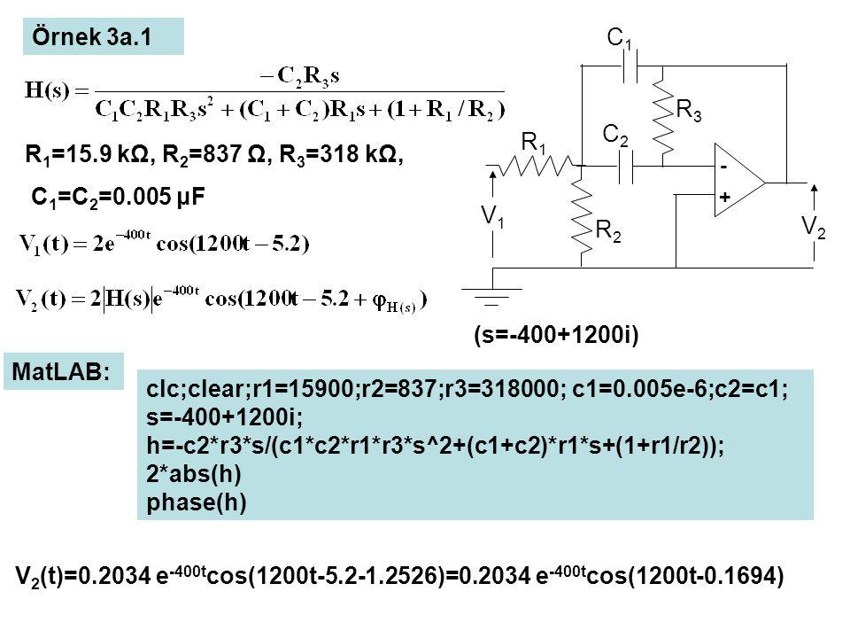 Frekans Cevabı Spektrumu: R 1 =15.9 kΩ, R 2 =837 Ω, R 3 =318 kΩ, C 1 =C 2 =0.005 μF V 1 (t)=cos(ωt)=Re{e iωt )=Re{e st } (s=iω) V 2 (t)= Re{H(iω)e iωt} =│H(iω)│cos(ωt+φ H(iω) ) H(iω): Frekans Cevabı │H(iω)│ ω Genlik Spektrumu ω Faz Spektrumu φ H(iω) ωT=2π, f =1/T Özdeğerler: f 0 =2001.8 Hz ω ∞ (f ∞ ) en büyük özdeğerden büyük olmalıdır