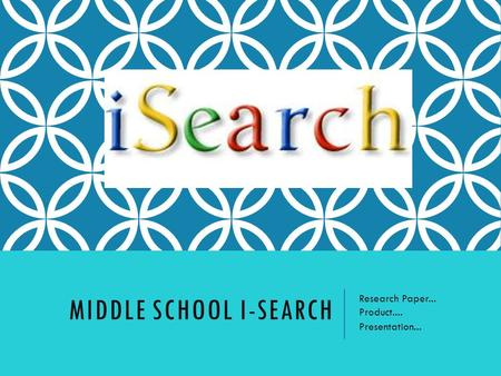 MIDDLE SCHOOL I-SEARCH Research Paper... Product.... Presentation...