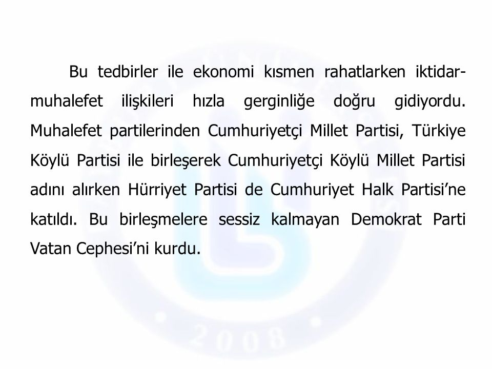 İktidar- muhalefet ilişkileri Başbakan Menderes'in 17 Şubat 1959'da üçlü Kıbrıs Konferansı'na katılmak üzere gittiği Londra'da geçirdiği uçak kazasından kurtulması ile kısa bir süreliğine yumuşadı.
