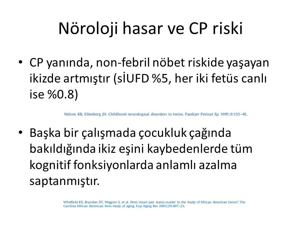 Nöroloji hasar ve CP riski TTTS sİUFD için major risk faktörlerinden biridir TTTS için yapılan fetoskopik lazer ablazyon işlemi seri amnioredüksiyona göre nörolojik anormallik riskini anlamlı oranda azaltır – Minör nörolojik riskte %16–33 vs %7.2–11, – Majör nörolojik riskte %7–26 vs %6 –11 Plasental damarların Lazer ablasyonu,sİUFD olursa yaşayan ikizi nörolojik morbitideden korur.