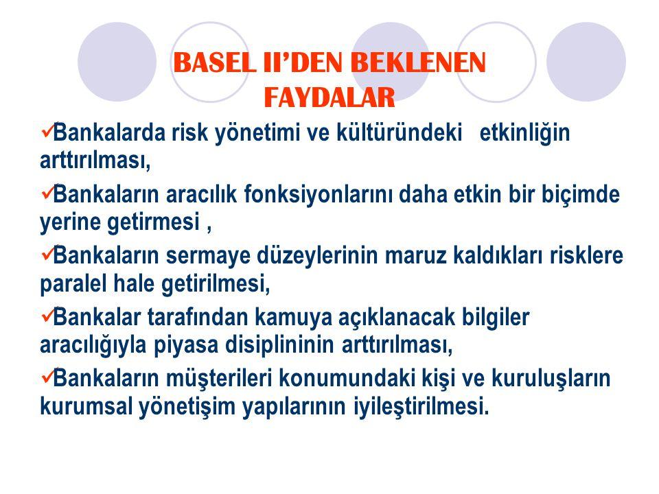 Basel II'nin Gelişmekte Olan Ülkelerdeki Finans Sistemine Olası Etkileri Basel II ile gelen en önemli değişiklik; yurtdışı borçlanmada ülke rating'lerinin dikkate alınacak olması Halen uygulamada olan standartlara göre ülkemizin hazine kağıtlarına uygulanan % 0 risk ağırlığı yerine, ülke ratingi'nden dolayı % 100 risk ağırlığı uygulanacak Basel II'de Türkiye OECD'ye üye ülke olmasından doğan avantajını yitiriyor ve yurtdışı borçlanma maliyeti artıyor (kulüp kuralı) Bu sadece ülkemiz için değil, düşük rating'e sahip tüm ülkeler için dış ticaretin finansmanında ve yurtdışı borçlanmada maliyetlerin artması anlamına gelmekte Sadece bu özellik bile ülkemizin Basel II'nin standartlarını dolaylı olarak da olsa kabul etmek zorunda kalacağının göstergesi 8