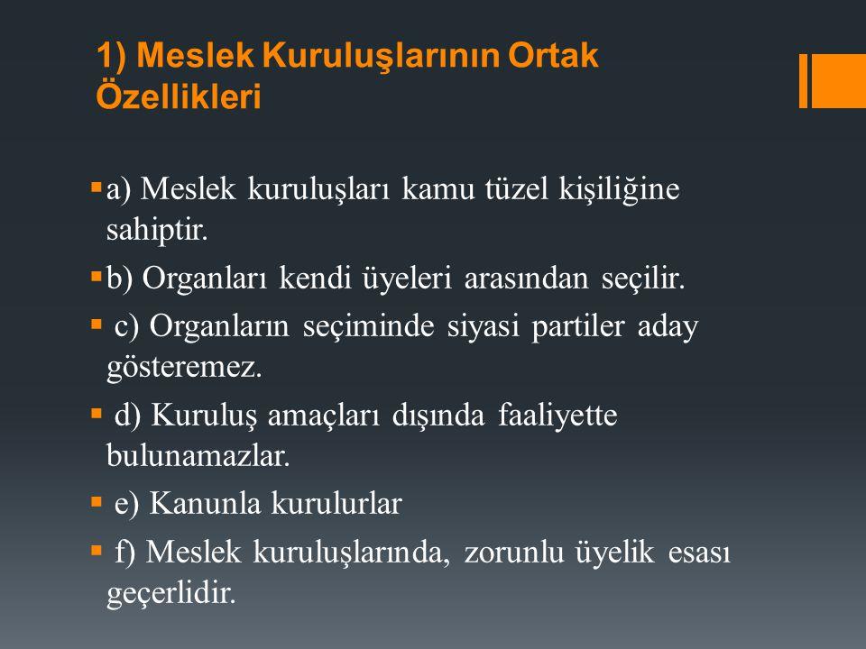 2) Meslek Kuruluşlarının Görevleri  a) Mesleği dışa karşı ve yargı mercileri nezdinde temsil eder.