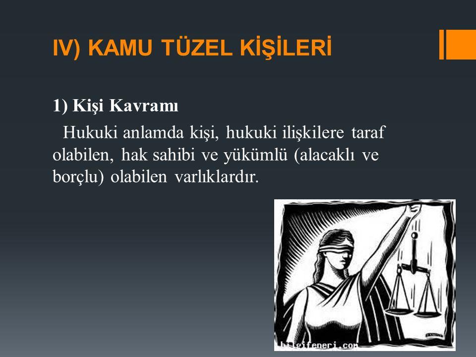 2) Kişi Türleri Hukuki kişiler ''gerçek kişiler'' ve ''tüzel kişiler'' olarak ikiye ayrılır.
