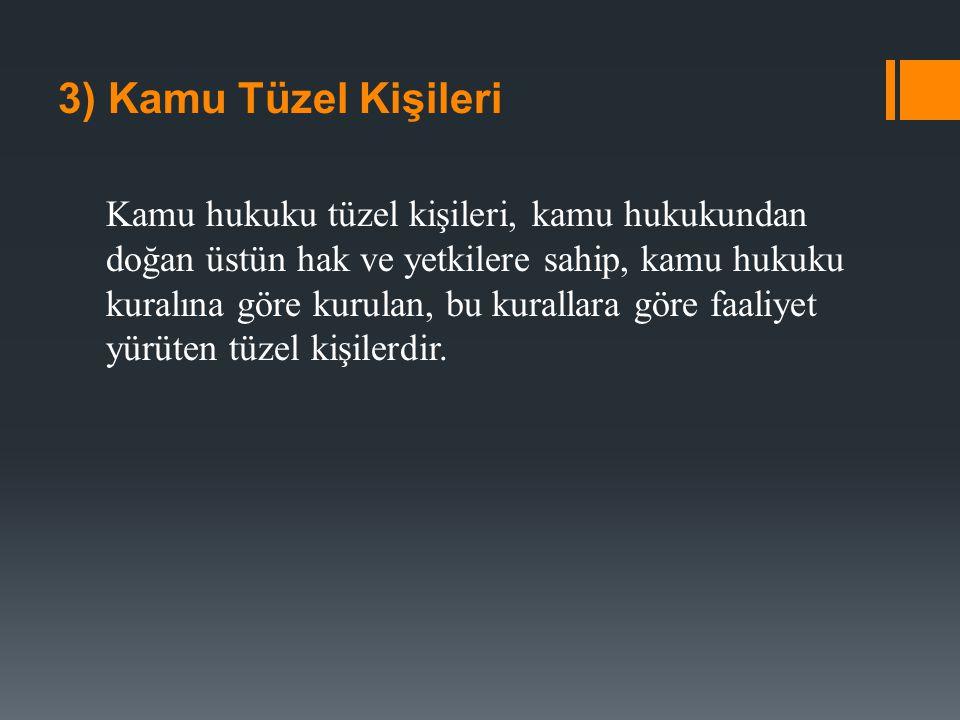 a) Kanunla kurulma: Kamu tüzel kişilerinin kurulması ve sona ermesi kanun ile olur.