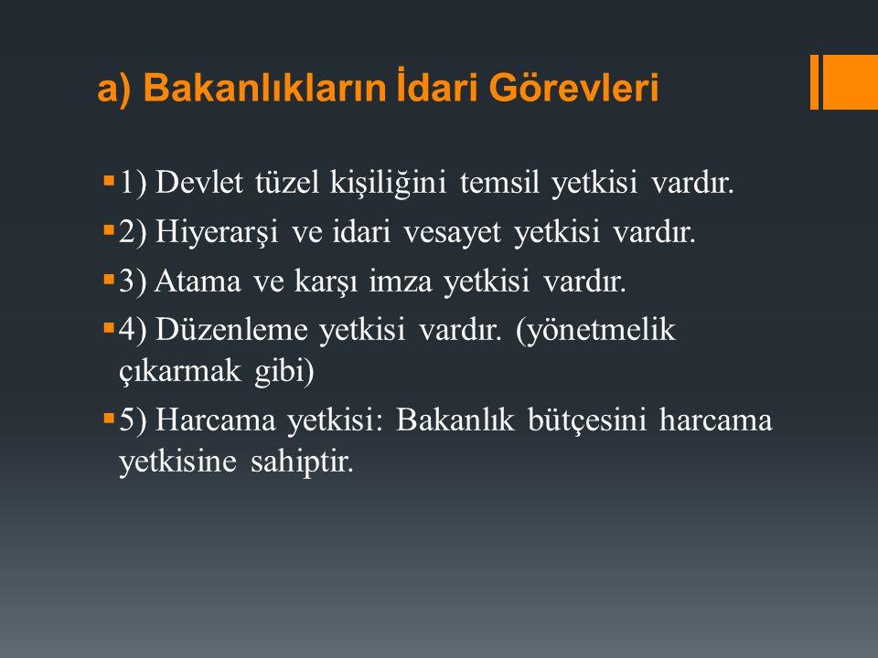 b) Bakanlık Teşkilâtı  Anayasanın 113.